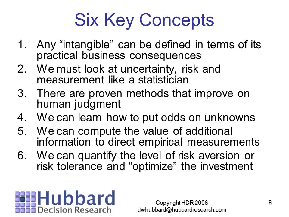 "Copyright HDR 2008 dwhubbard@hubbardresearch.com 8 Six Key Concepts 1.Any ""intangible"" can be defined in terms of its practical business consequences"