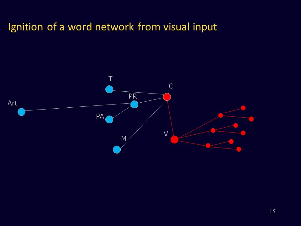 Ignition of a word network from visual input V PR PA M C Art T 15