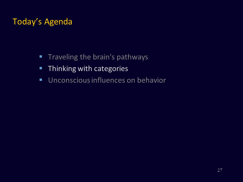 Today's Agenda  Traveling the brain s pathways  Thinking with categories  Unconscious influences on behavior 27