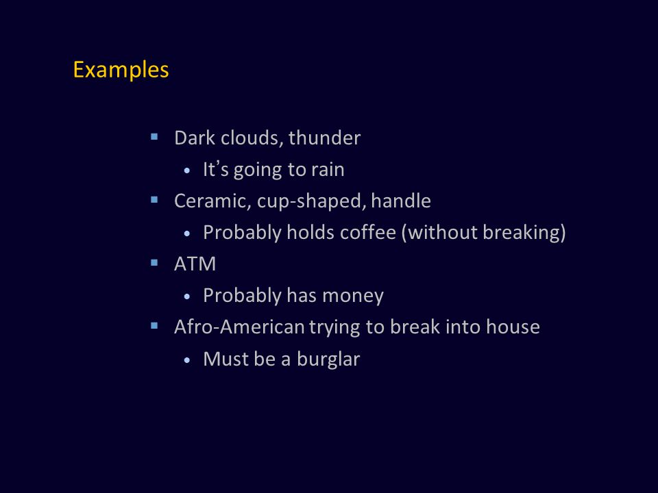 Examples  Dark clouds, thunder It's going to rain  Ceramic, cup-shaped, handle Probably holds coffee (without breaking)  ATM Probably has money  Afro-American trying to break into house Must be a burglar