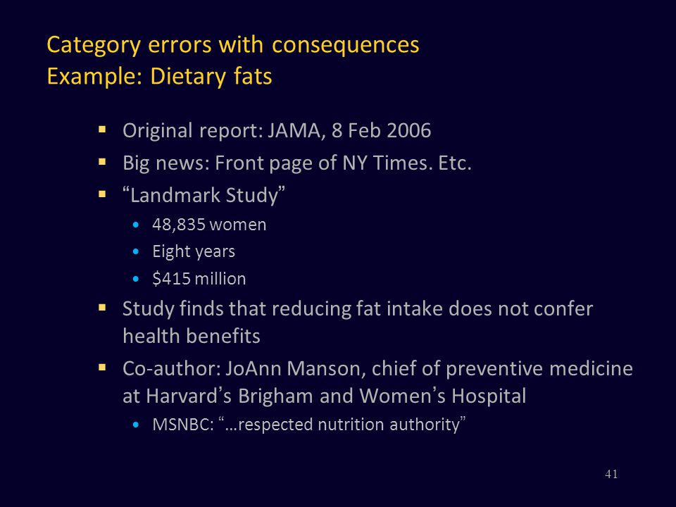 Category errors with consequences Example: Dietary fats  Original report: JAMA, 8 Feb 2006  Big news: Front page of NY Times.