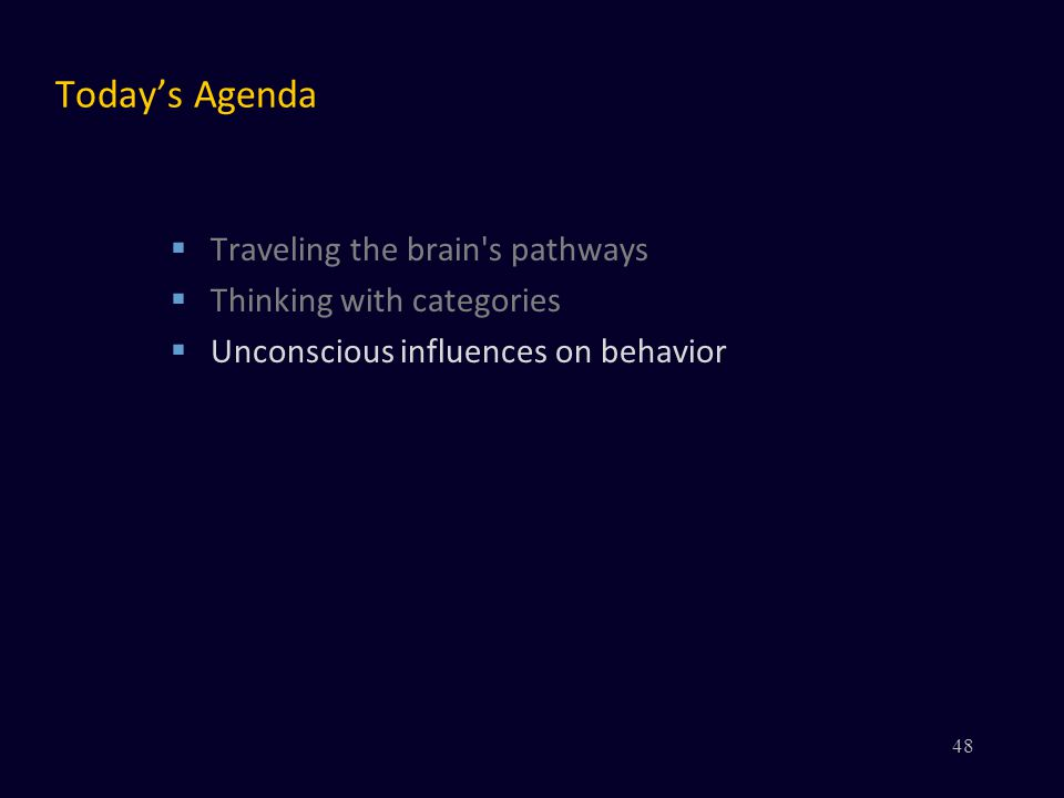Today's Agenda  Traveling the brain s pathways  Thinking with categories  Unconscious influences on behavior 48