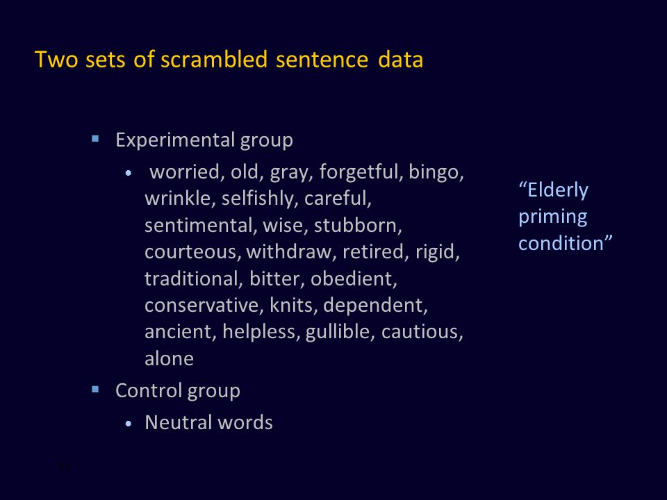 Two sets of scrambled sentence data  Experimental group worried, old, gray, forgetful, bingo, wrinkle, selfishly, careful, sentimental, wise, stubborn, courteous, withdraw, retired, rigid, traditional, bitter, obedient, conservative, knits, dependent, ancient, helpless, gullible, cautious, alone  Control group Neutral words 51 Elderly priming condition