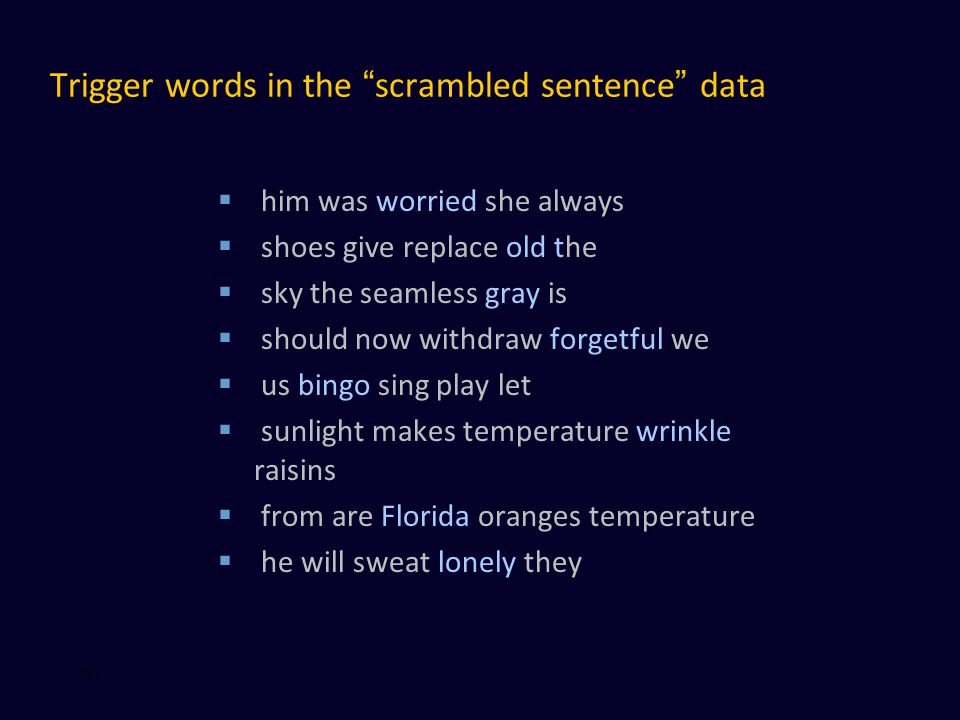Trigger words in the scrambled sentence data  him was worried she always  shoes give replace old the  sky the seamless gray is  should now withdraw forgetful we  us bingo sing play let  sunlight makes temperature wrinkle raisins  from are Florida oranges temperature  he will sweat lonely they 53