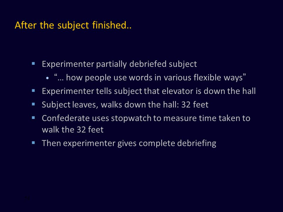 """After the subject finished..  Experimenter partially debriefed subject """"… how people use words in various flexible ways""""  Experimenter tells subject"""