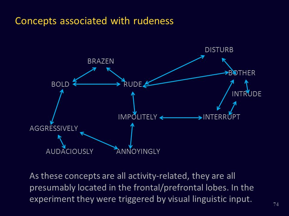 Concepts associated with rudeness DISTURB BRAZEN BOTHER BOLD RUDE INTRUDE IMPOLITELYINTERRUPT AGGRESSIVELY AUDACIOUSLYANNOYINGLY As these concepts are all activity-related, they are all presumably located in the frontal/prefrontal lobes.