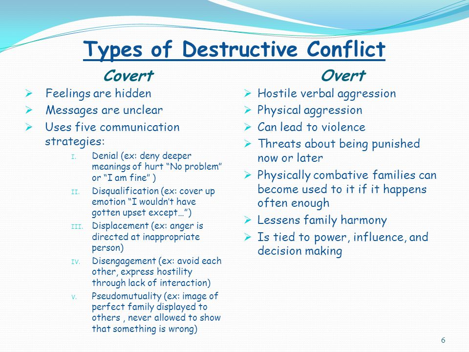 Common Causes of Conflict  New job  Losing job  Marriage/learning to live as a couple  Change in financial circumstances  Birth of a child (for parents or siblings)  Divorce/Separation  Getting sick/medical issues (self or family/friend)  Moving  Death of a loved one 5