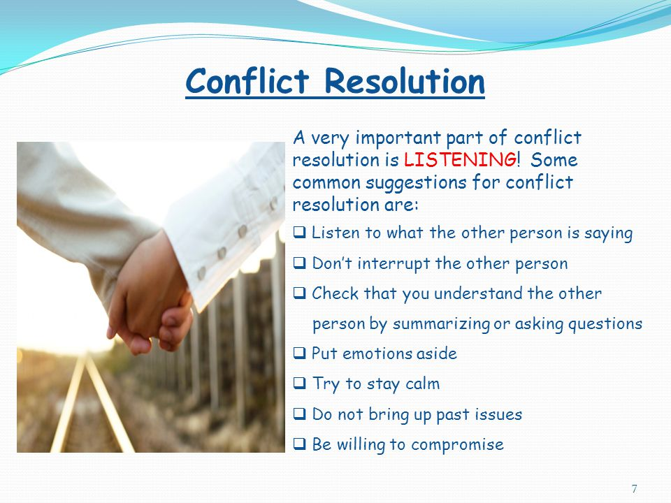 Types of Destructive Conflict Covert Overt  Feelings are hidden  Messages are unclear  Uses five communication strategies: I. Denial (ex: deny deep