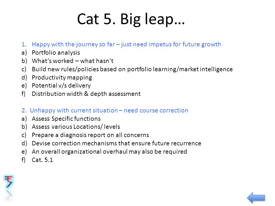 Cat 5. Big leap… 1.Happy with the journey so far – just need impetus for future growth a)Portfolio analysis b)What's worked – what hasn't c)Build new