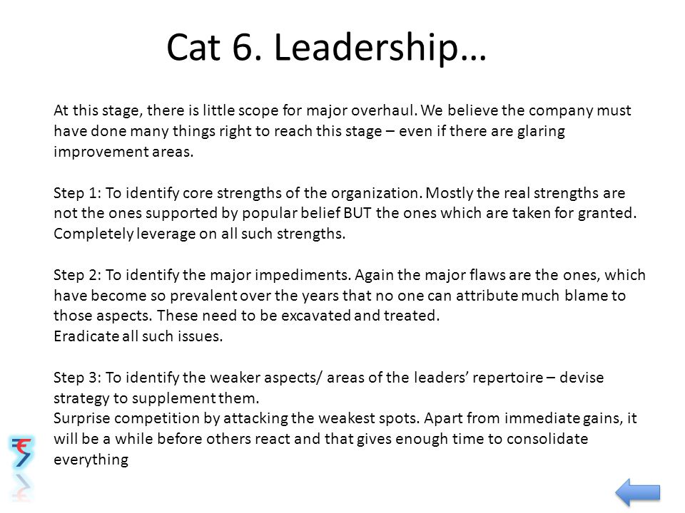 Cat 6. Leadership… At this stage, there is little scope for major overhaul. We believe the company must have done many things right to reach this stag