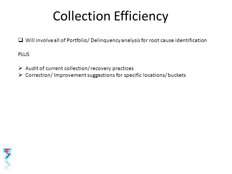 Collection Efficiency  Will involve all of Portfolio/ Delinquency analysis for root cause identification PLUS  Audit of current collection/ recovery practices  Correction/ Improvement suggestions for specific locations/ buckets