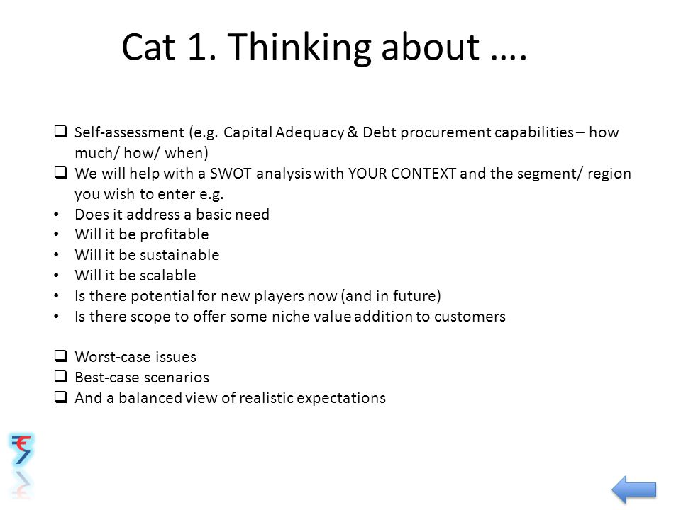 Cat 1. Thinking about ….  Self-assessment (e.g.
