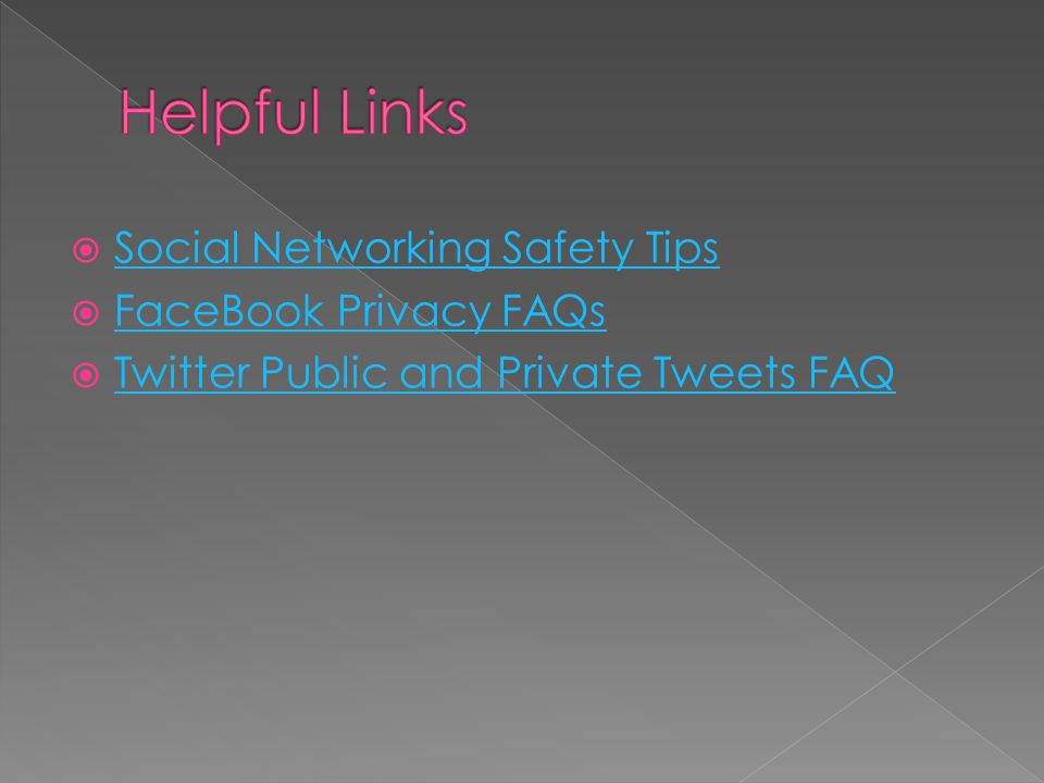  Social Networking Safety Tips Social Networking Safety Tips  FaceBook Privacy FAQs FaceBook Privacy FAQs  Twitter Public and Private Tweets FAQ Tw