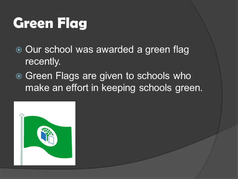 Green Flag  Our school was awarded a green flag recently.