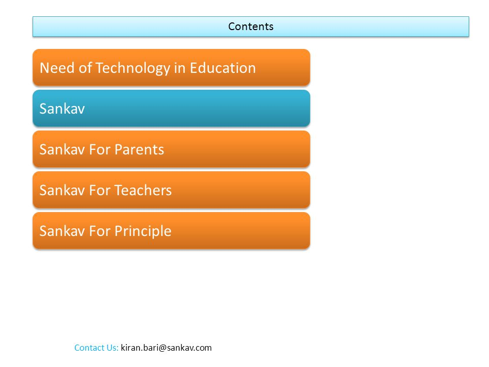 Sankav is a web application that allows School teachers to communicate with the students and parents f the students daily updates about school including homework, attendance, timetables, notices in a very easier way.