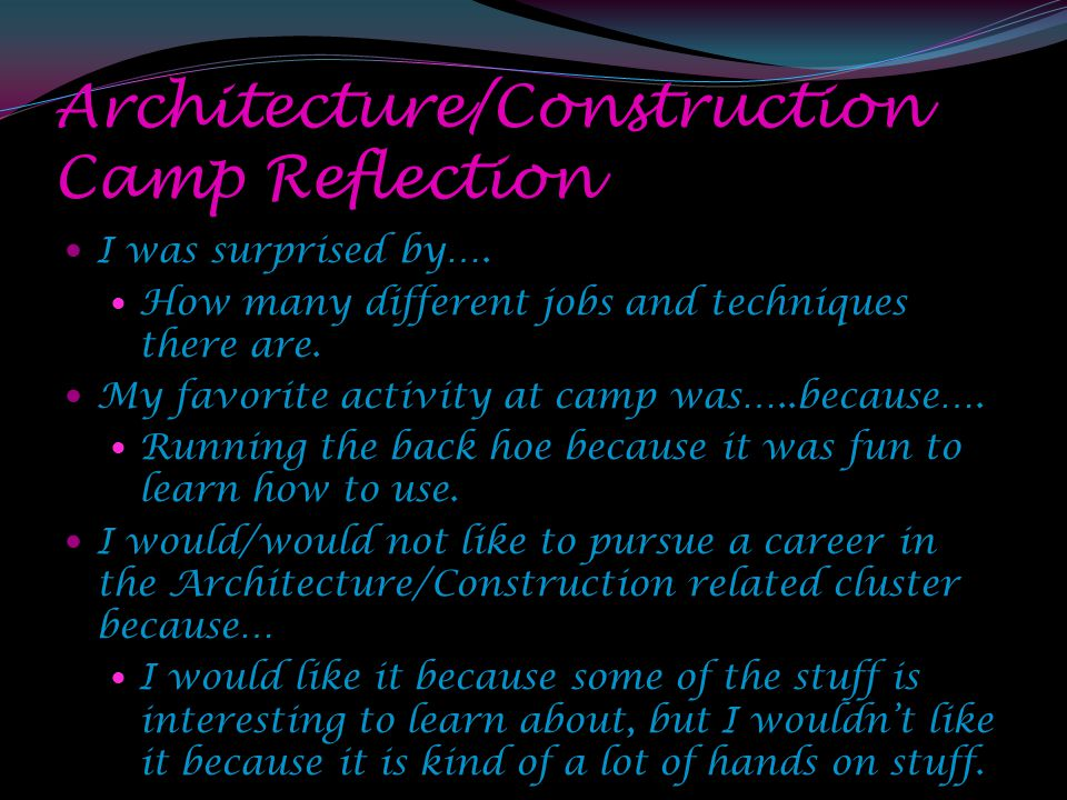 Architecture/Construction Camp Reflection I was surprised by….