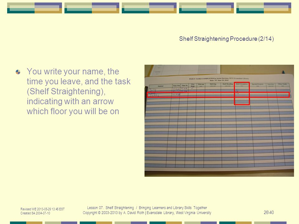 Shelf Straightening Procedure (2/14) You write your name, the time you leave, and the task (Shelf Straightening), indicating with an arrow which floor you will be on Revised WE :45 EST Created SA Lesson 07.
