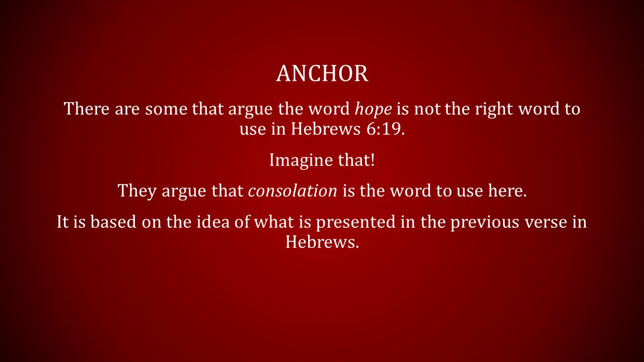 ANCHOR There are some that argue the word hope is not the right word to use in Hebrews 6:19.