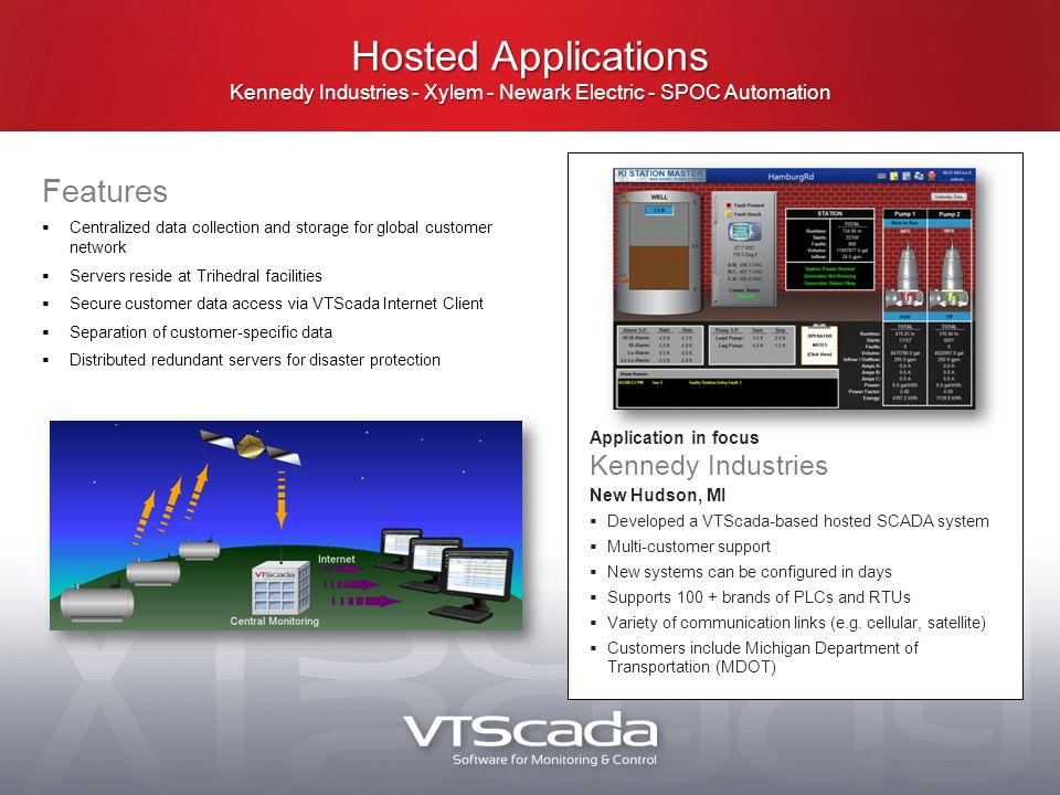 Hosted Applications Kennedy Industries - Xylem - Newark Electric - SPOC Automation Features  Centralized data collection and storage for global customer network  Servers reside at Trihedral facilities  Secure customer data access via VTScada Internet Client  Separation of customer-specific data  Distributed redundant servers for disaster protection Application in focus Kennedy Industries New Hudson, MI  Developed a VTScada-based hosted SCADA system  Multi-customer support  New systems can be configured in days  Supports 100 + brands of PLCs and RTUs  Variety of communication links (e.g.