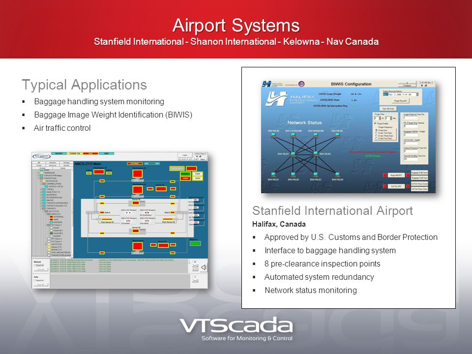 Typical Applications  Baggage handling system monitoring  Baggage Image Weight Identification (BIWIS)  Air traffic control Airport Systems Stanfield International - Shanon International - Kelowna - Nav Canada Stanfield International Airport Halifax, Canada  Approved by U.S.