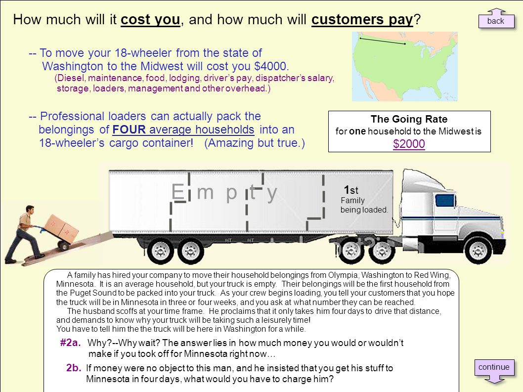How much will it cost you, and how much will customers pay? -- To move your 18-wheeler from the state of Washington to the Midwest will cost you $4000