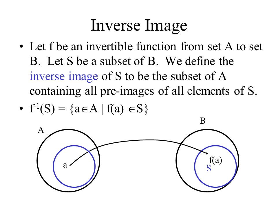 Inverse Image Let f be an invertible function from set A to set B. Let S be a subset of B. We define the inverse image of S to be the subset of A cont