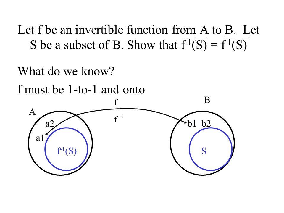 Proof: We must show that f -1 (S)  f -1 (S) and that f -1 (S)  f -1 (S).