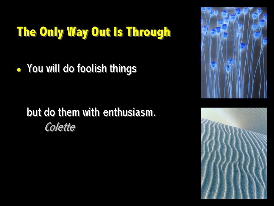 The Only Way Out Is Through You will do foolish things but do them with enthusiasm. Colette You will do foolish things but do them with enthusiasm. Co