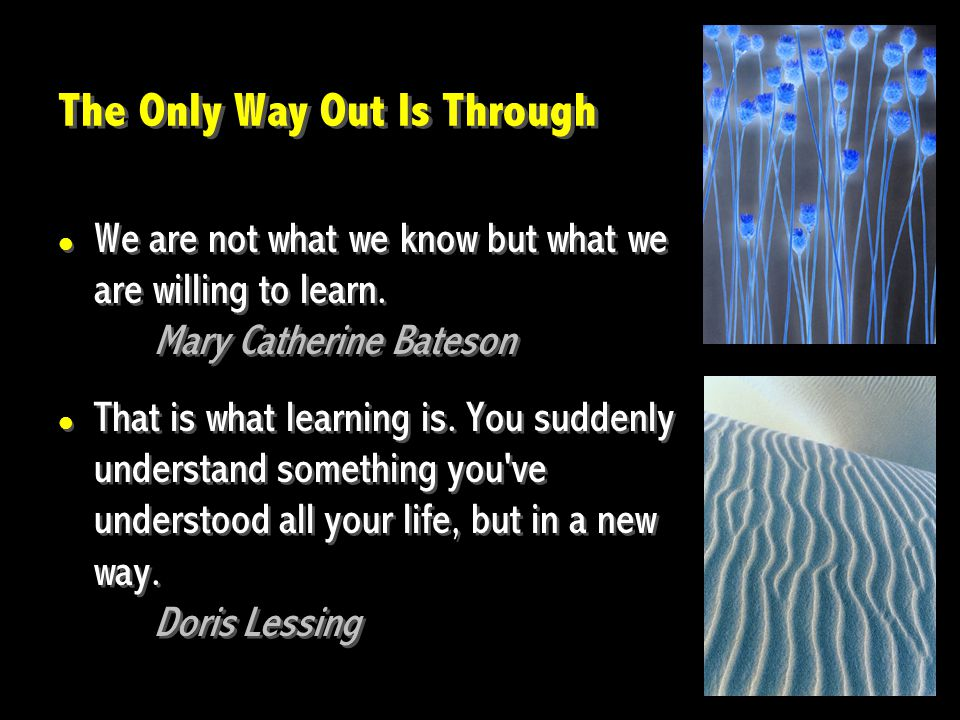 The Only Way Out Is Through We are not what we know but what we are willing to learn.