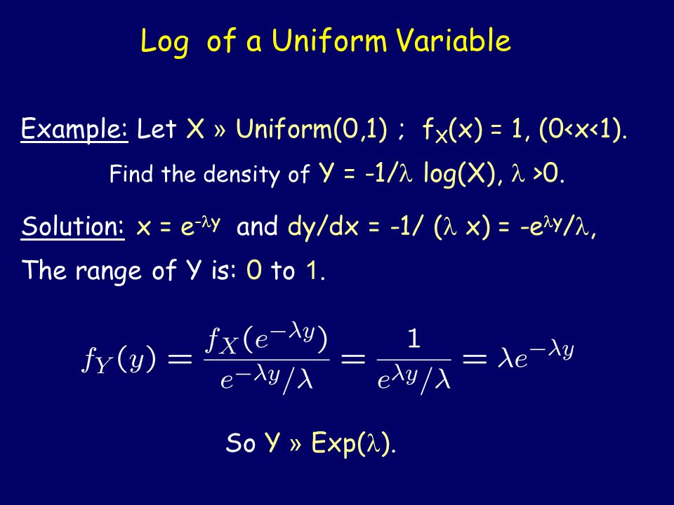 Exponential function of an Exponential Variable Example: Let X » Exp(1) ; f X (x) = e -x, (x>0).