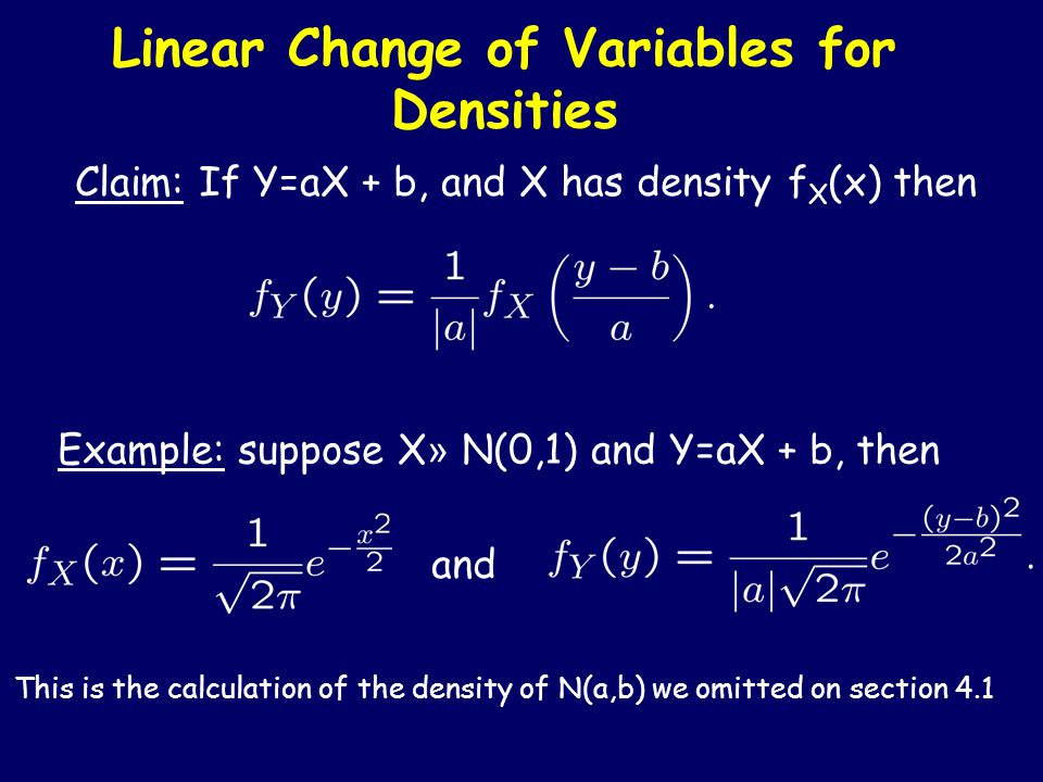 Example: Scaling a uniform Suppose a continuous random variable X has a density f X (x).