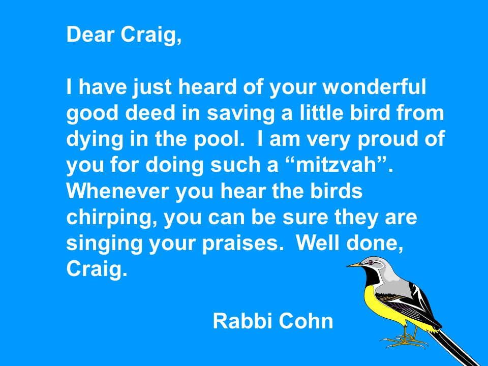 "Dear Craig, I have just heard of your wonderful good deed in saving a little bird from dying in the pool. I am very proud of you for doing such a ""mit"