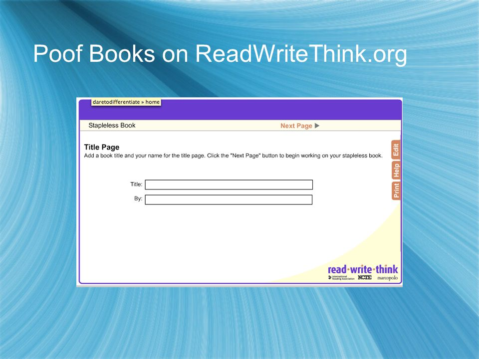 Poof Books on ReadWriteThink.org