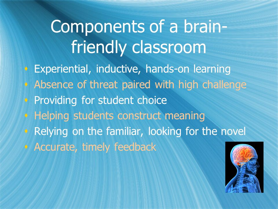 Components of a brain- friendly classroom  Experiential, inductive, hands-on learning  Absence of threat paired with high challenge  Providing for