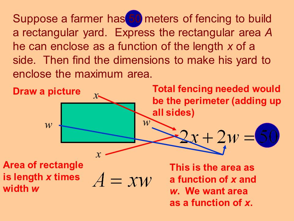 Suppose a farmer has 50 meters of fencing to build a rectangular yard. Express the rectangular area A he can enclose as a function of the length x of