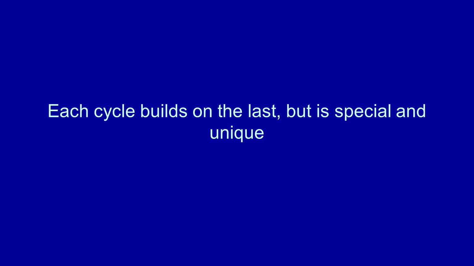 Each cycle builds on the last, but is special and unique