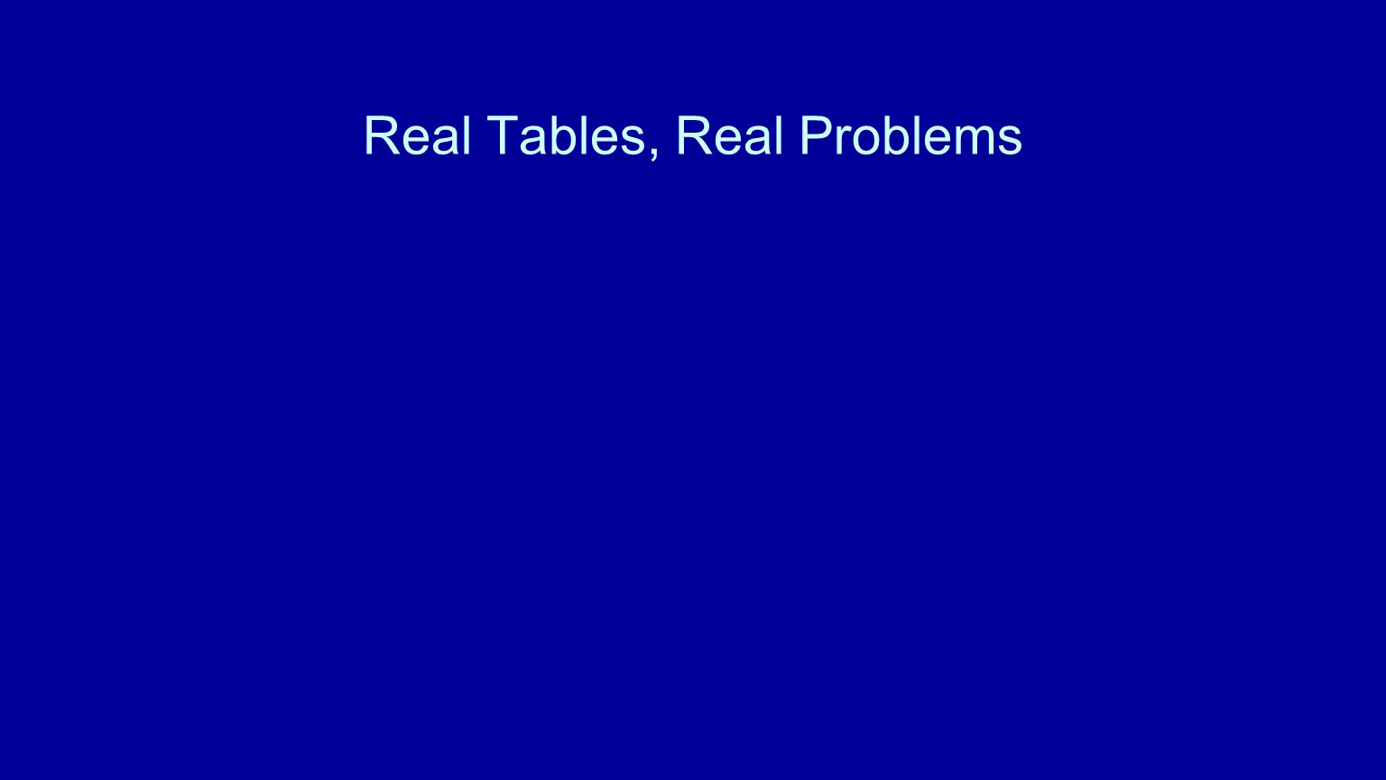 Real Tables, Real Problems