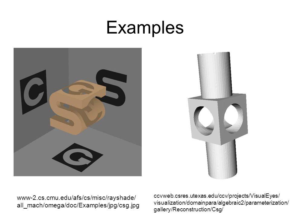 Examples www-2.cs.cmu.edu/afs/cs/misc/rayshade/ all_mach/omega/doc/Examples/jpg/csg.jpg ccvweb.csres.utexas.edu/ccv/projects/VisualEyes/ visualization/domainpara/algebraic2/parameterization/ gallery/Reconstruction/Csg/