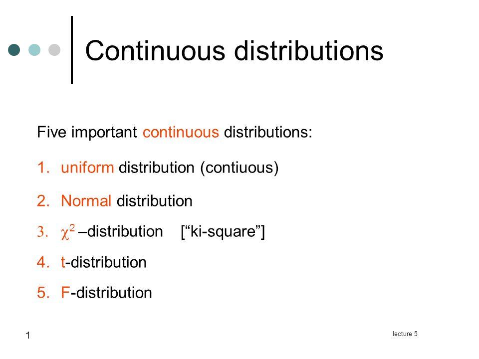 F-distribution Example lecture 5 22 F ~ F(10,30) F ~ F(6,10) F ~ F(20,50)