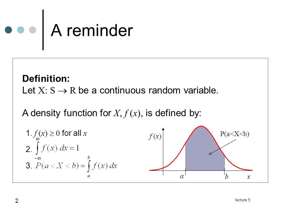 lecture 5 3 Uniform distribution Definition Definition: Let X be a random variable.