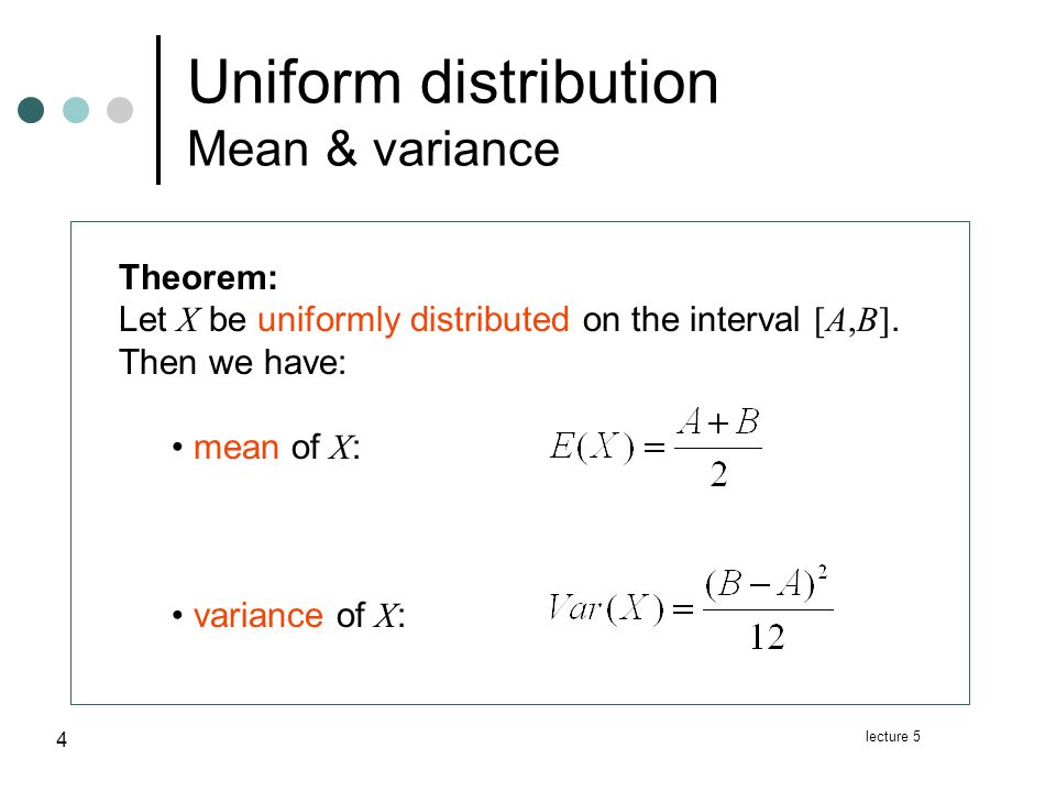 lecture 5 15 Normal distribution Relation to the binomial distribution If X is binomial distributed with parameters n and p, then is approximately normal distributed.