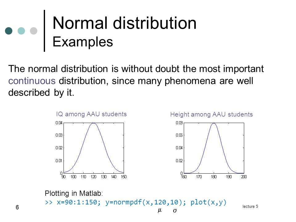 lecture 5 7 Normal distribution Mean & variance Theorem: If X ~ N( ,   ) then mean of X : variance of X : Density function: N(1,1 ) N(0,2 ) N(0,1 )