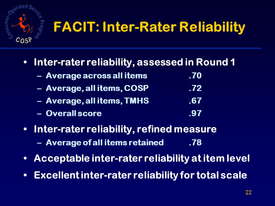 22 FACIT: Inter-Rater Reliability Inter-rater reliability, assessed in Round 1 –Average across all items.70 –Average, all items, COSP.72 –Average, all items, TMHS.67 –Overall score.97 Inter-rater reliability, refined measure –Average of all items retained.78 Acceptable inter-rater reliability at item level Excellent inter-rater reliability for total scale