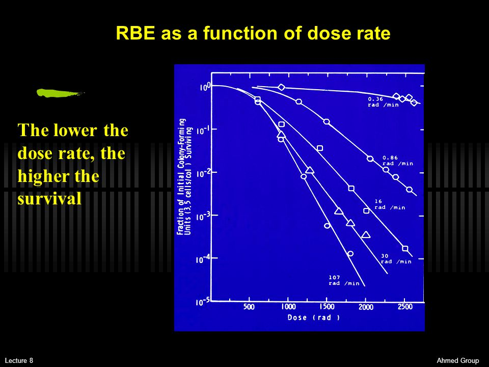 Ahmed GroupLecture 8 The lower the dose rate, the higher the survival RBE as a function of dose rate