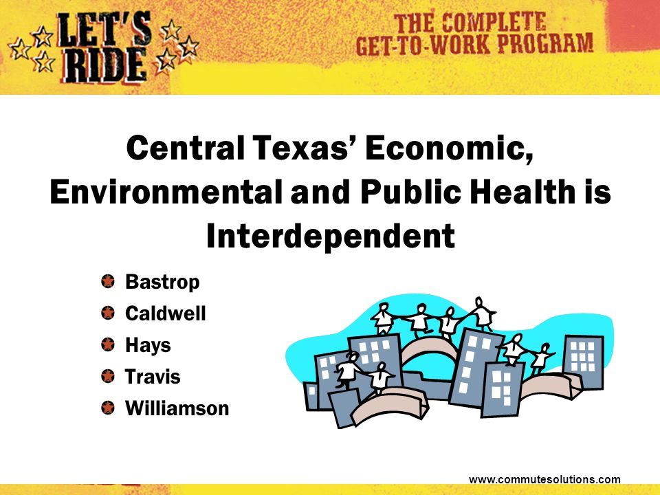www.commutesolutions.com Central Texas' Economic, Environmental and Public Health is Interdependent Bastrop Caldwell Hays Travis Williamson