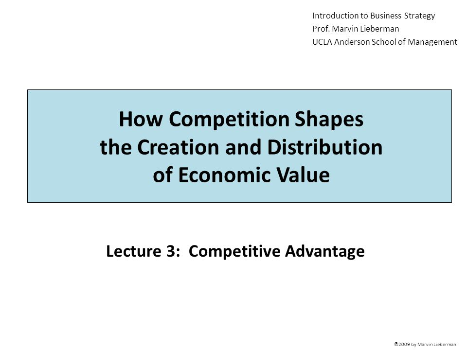 Lecture 3: Competitive Advantage Introduction to Business Strategy Prof.