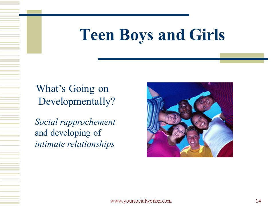 www.yoursocialworker.com14 Teen Boys and Girls What's Going on Developmentally.