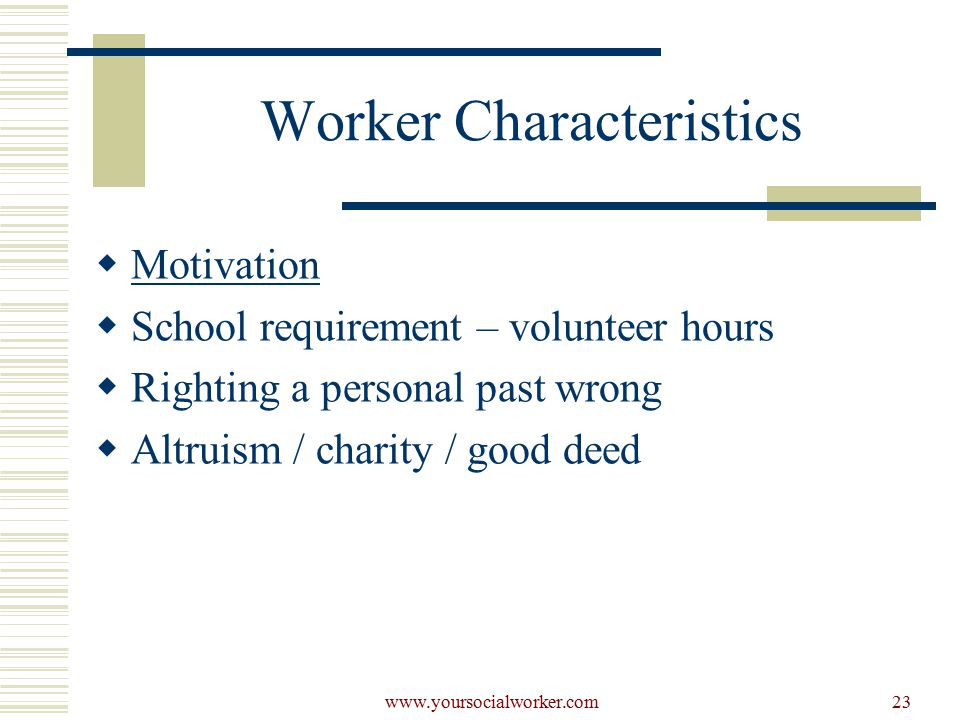 www.yoursocialworker.com23 Worker Characteristics  Motivation  School requirement – volunteer hours  Righting a personal past wrong  Altruism / charity / good deed