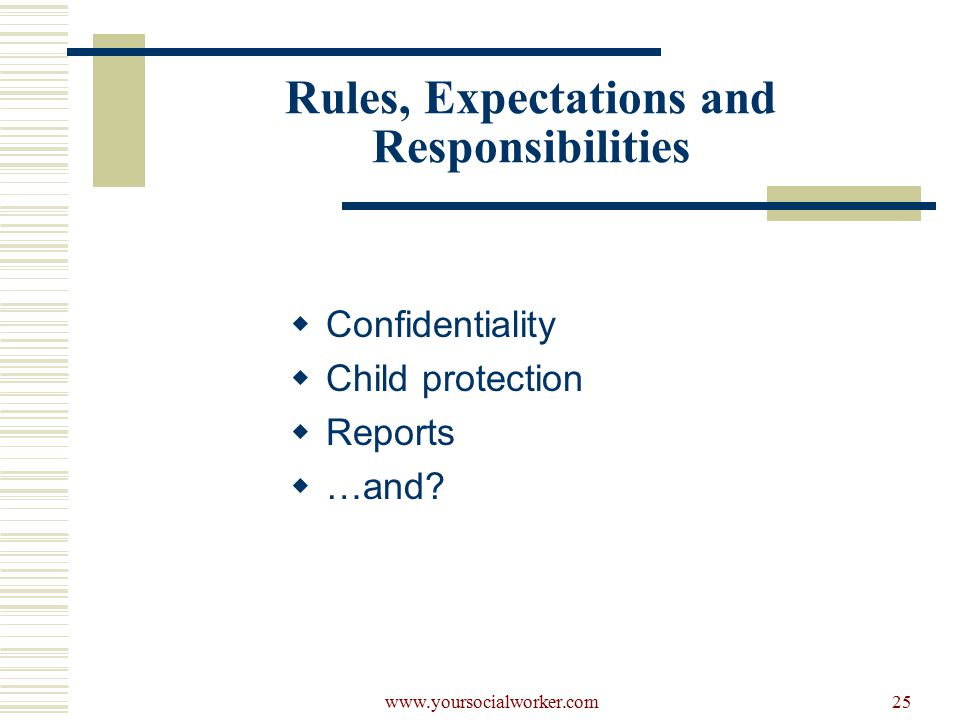 www.yoursocialworker.com25 Rules, Expectations and Responsibilities  Confidentiality  Child protection  Reports  …and
