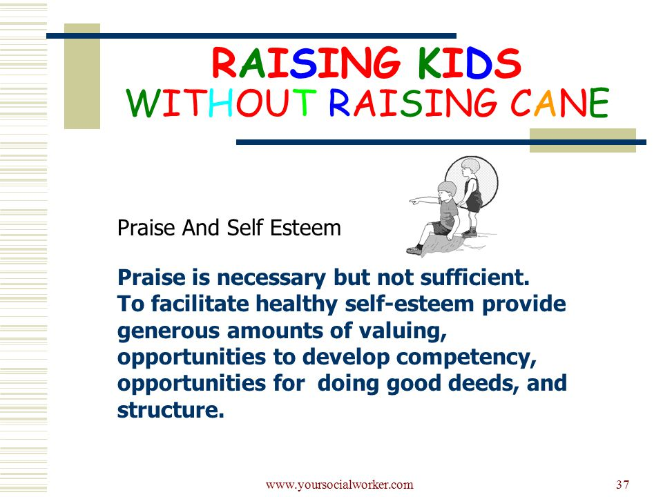 www.yoursocialworker.com37 RAISING KIDS WITHOUT RAISING CANE Praise And Self Esteem Praise is necessary but not sufficient.
